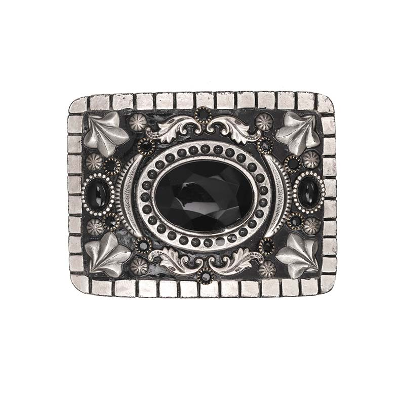 Black Onyx and Crystal Belt Buckle