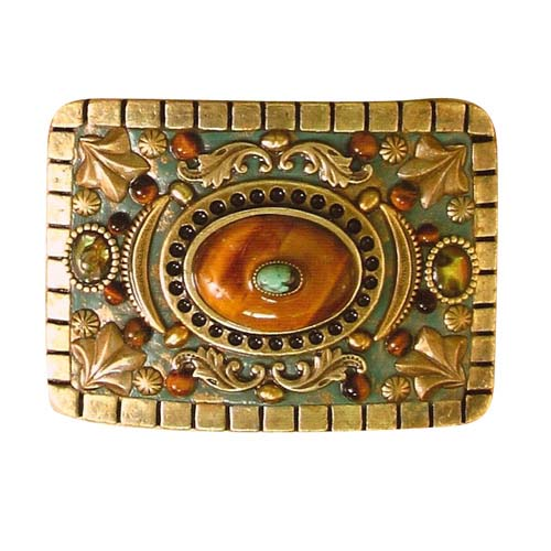 Tiger's Eye and Abalone Belt Buckle