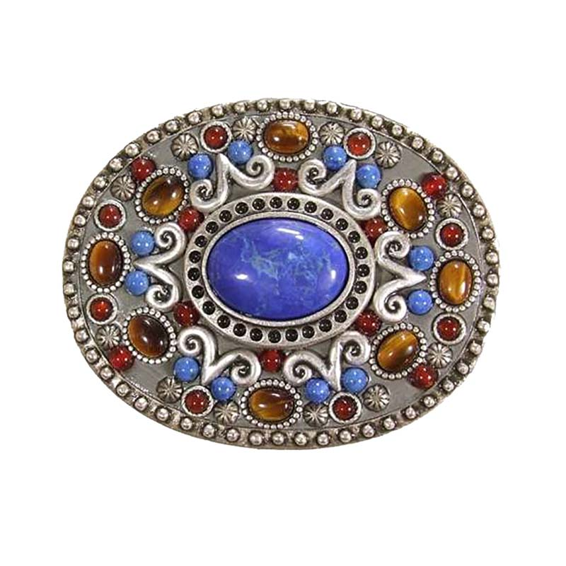 Carnelian and Sodalite Oval Belt Buckle