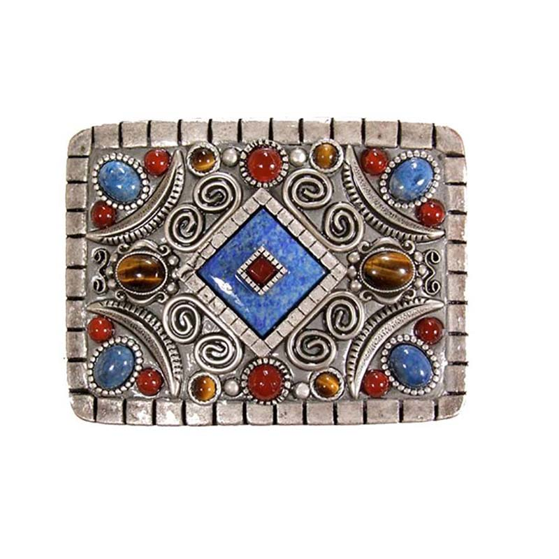 Carnelian and Sodalite Rectangle Belt Buckle