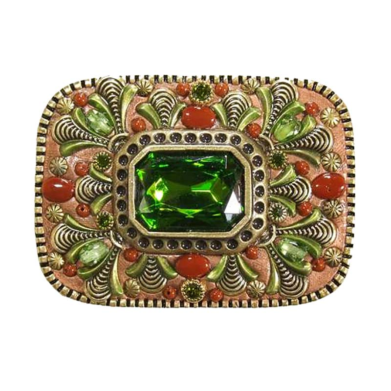 Green and Red Crystal Belt Buckle
