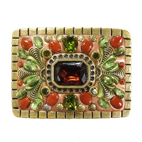 Green and Red Crystal Belt Buckle II