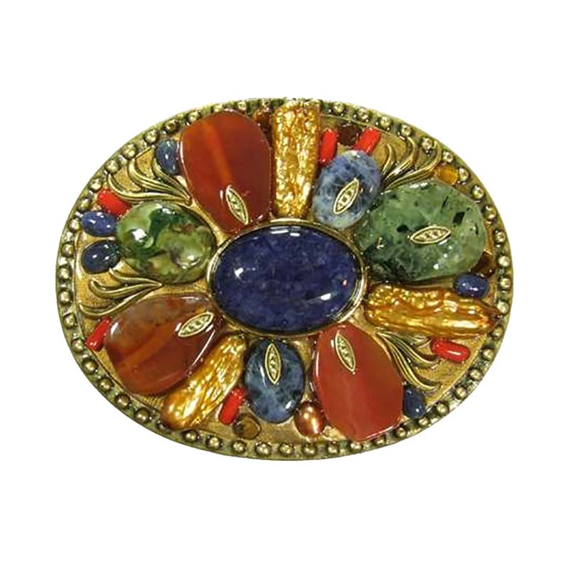 Oval Chunky Gemstone Belt Buckle