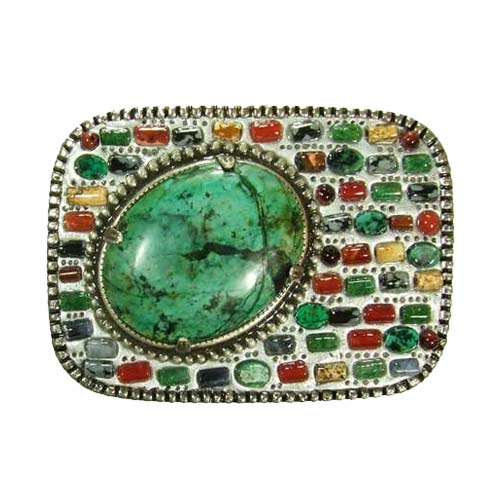 Green Gemstone Mosaic Belt Buckle