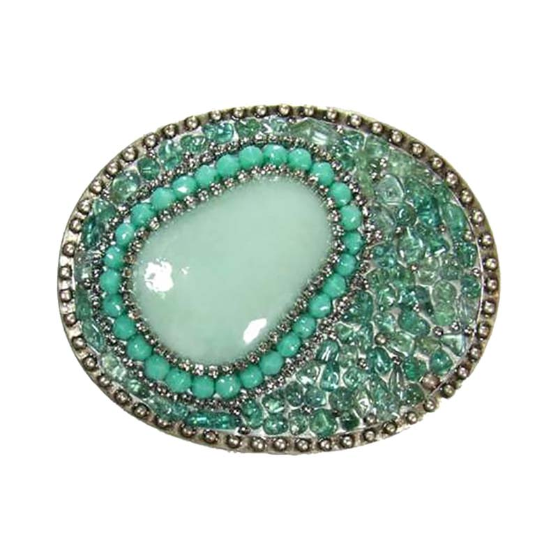 Aqua Crystal and Turquoise Belt Buckle