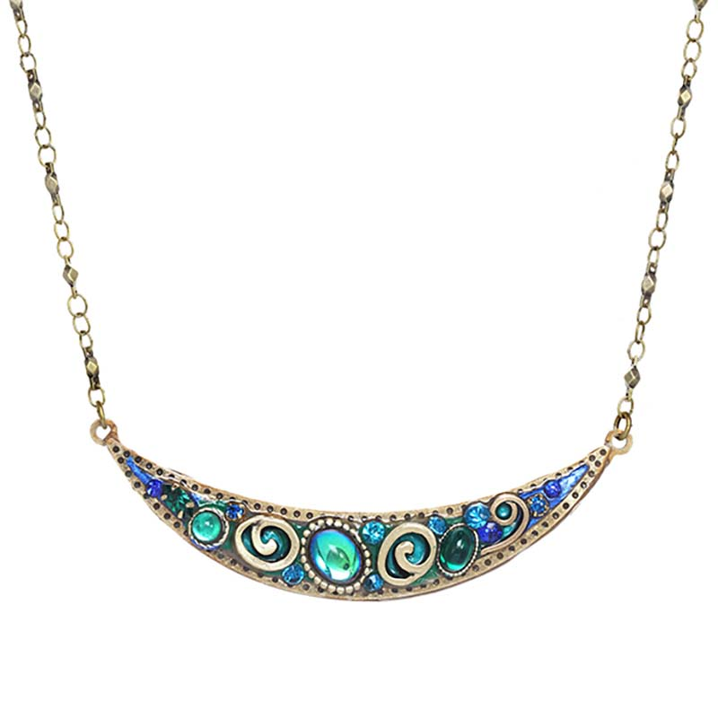 Emerald Thin Crescent Necklace