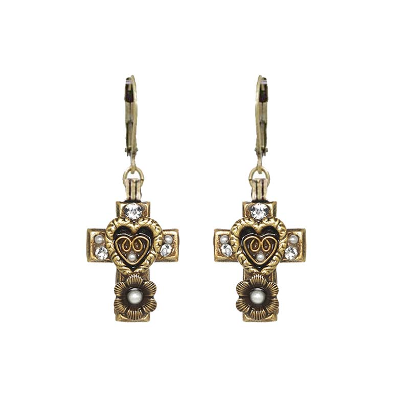 Antique Pearl and Crystal Cross Earrings