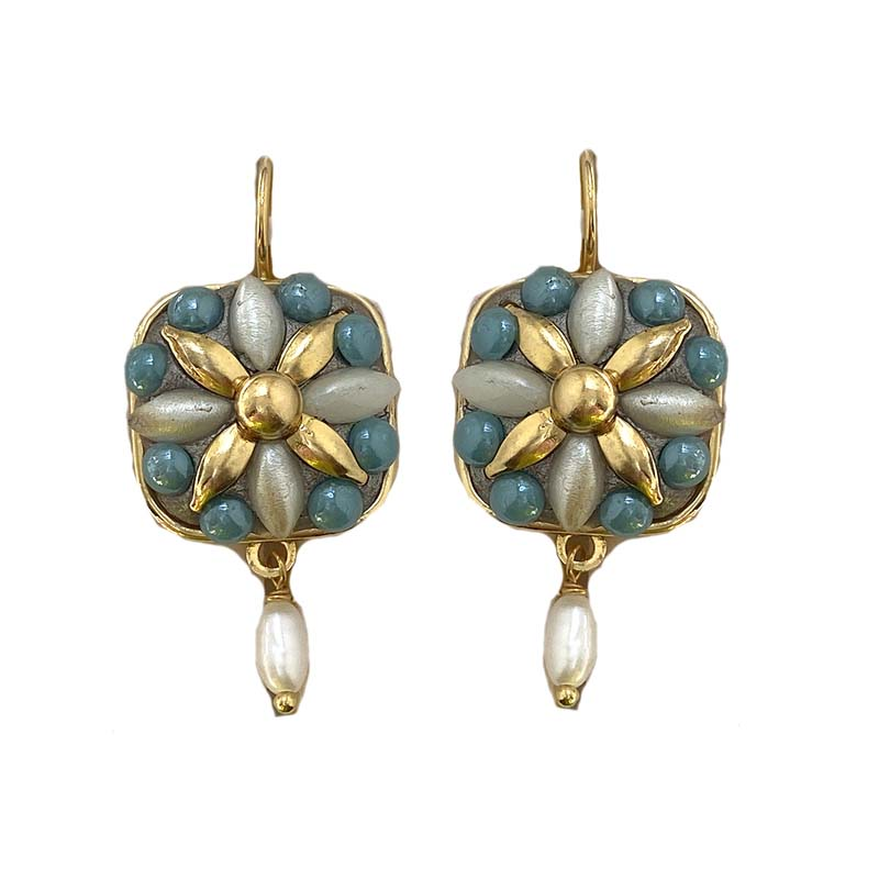 Gold and Turquoise Floral Square Earrings