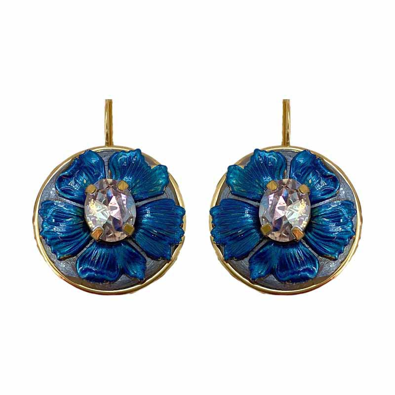 Deep Blue and Crystal Flower Earrings