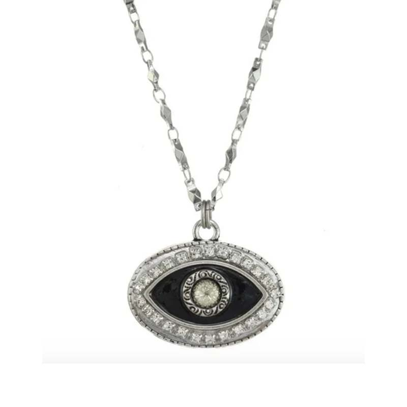 Black and Silver Oval Eye Necklace