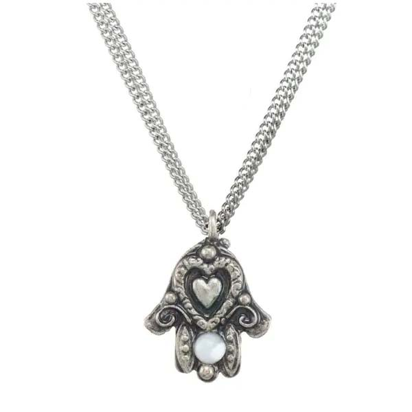 Silver and Pearl Heart Hamsa Necklace
