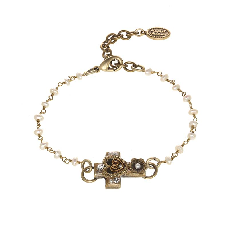Antique Pearl and Crystal Cross Bracelet