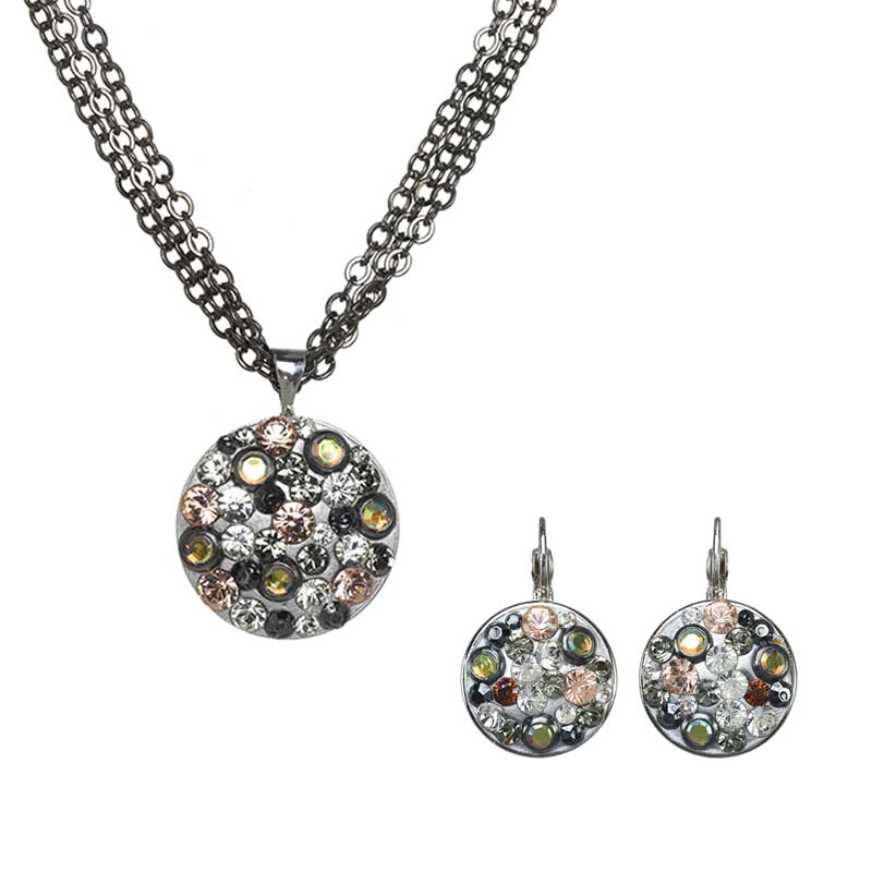 Silver Glitter Necklace and Earrings Set
