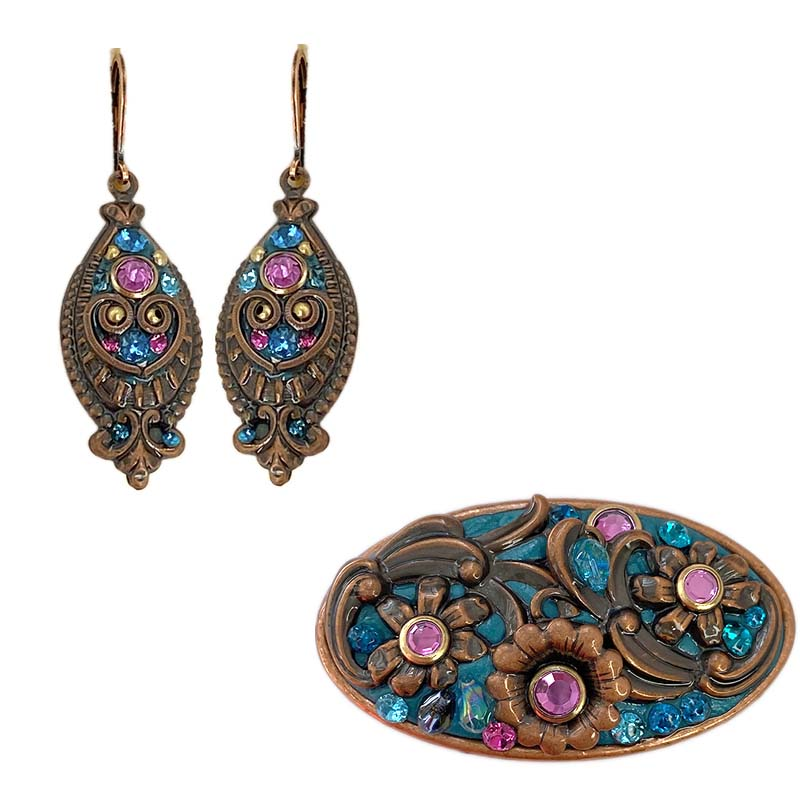 Blue and Fuschia Copper Pin and Earrings Set