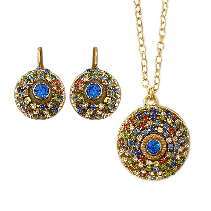 Multicolor Crystal Mosaic Necklace and Earrings Set