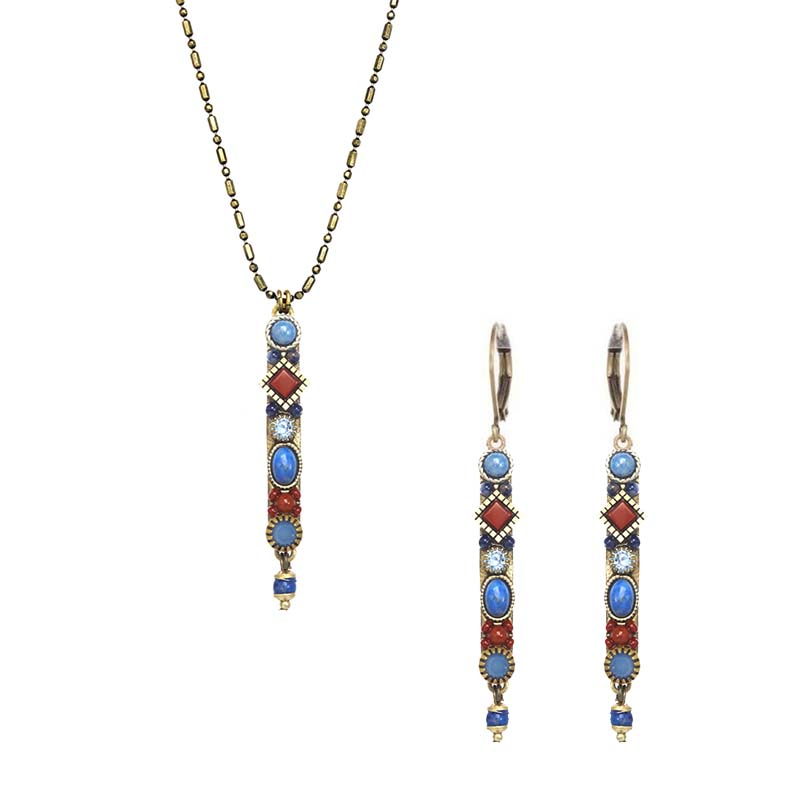 Jasper and Sodalite Bar Necklace and Earrings Set