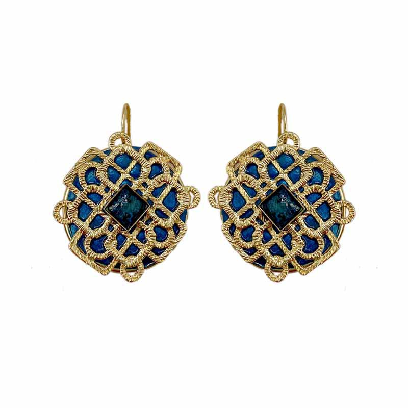 Deep Blue and Gold Filigree Earrings