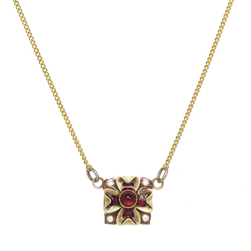 Garnet Square Necklace