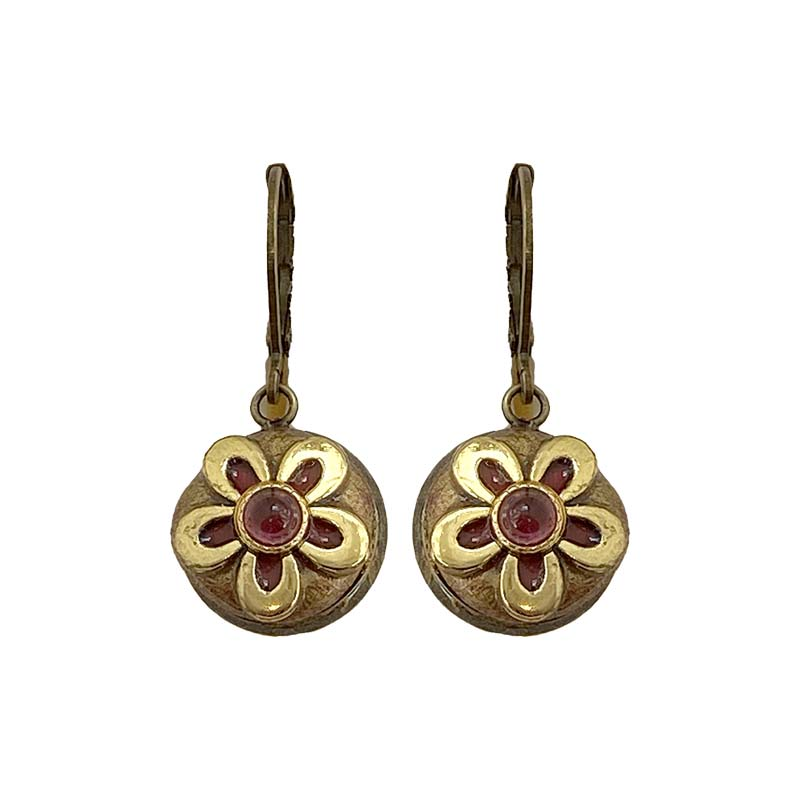 Tiny Garnet Daisy Earrings