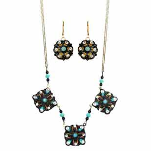 Turquoise and Gold Shield Necklace and Earrings Set