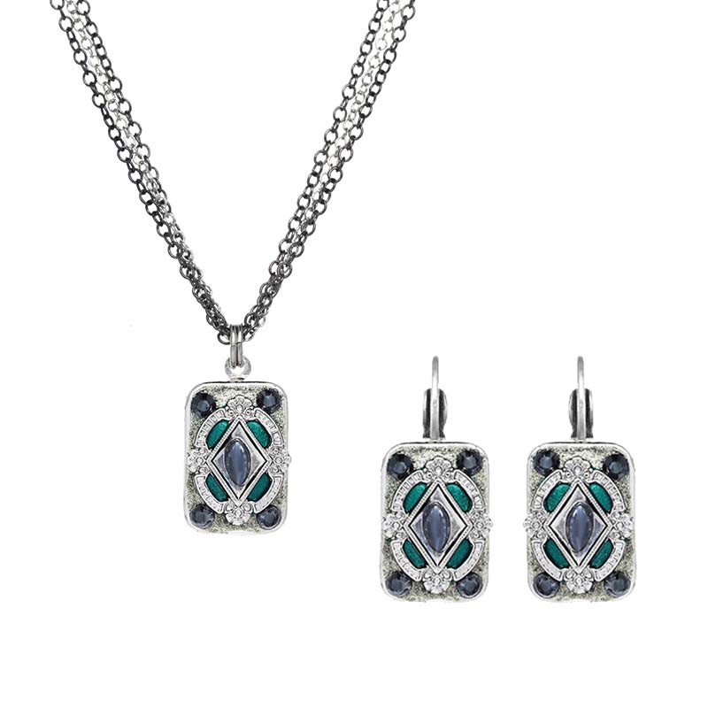 Deep Aqua Crystal Rectangle Necklace and Earrings Set