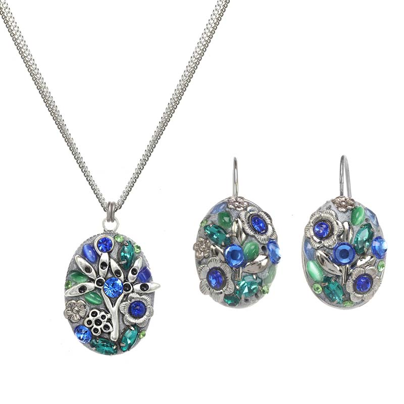 Ice Forest Oval Necklace and Earrings Set