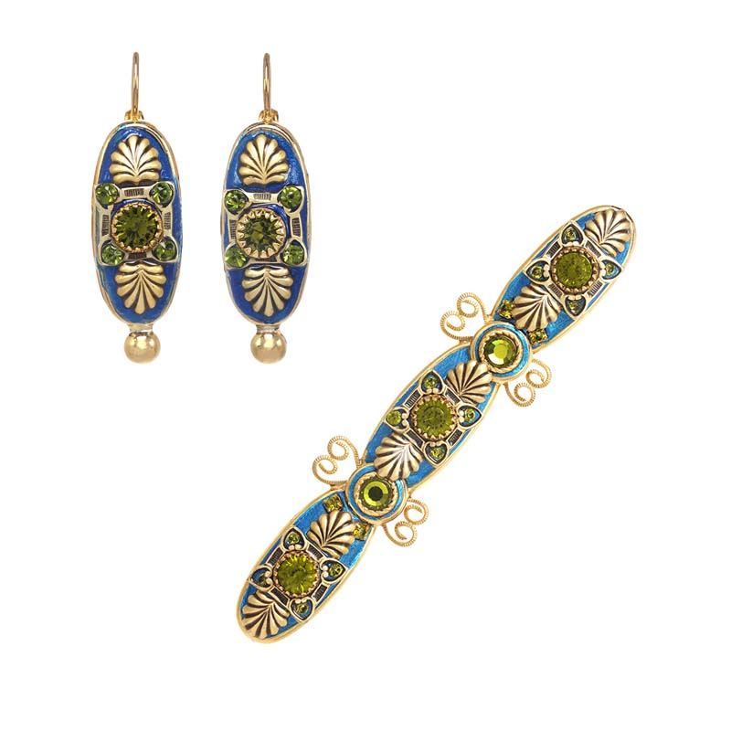 Blue and Green Oval Brooch and Earrings Set