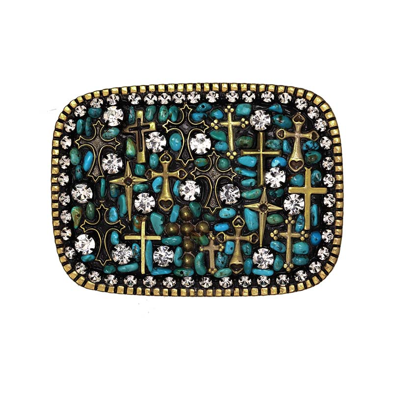 Aqua and Gold Cross Belt Buckle