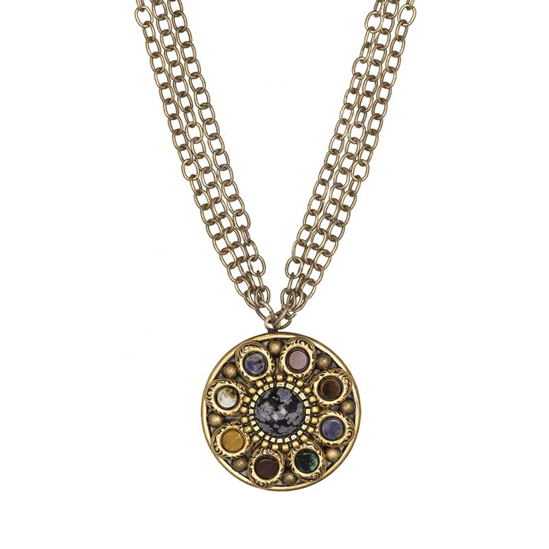 Durango Triple Chain Medallion Necklace
