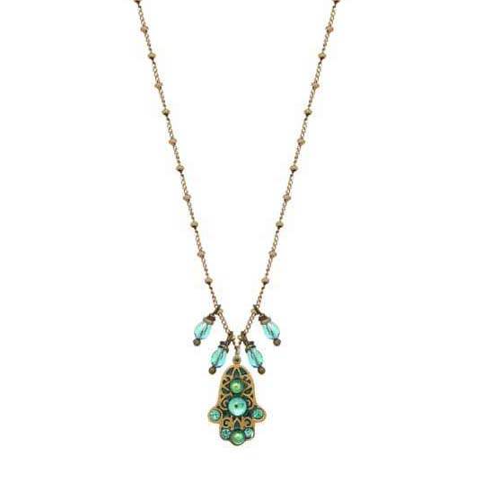 Tiny Green Hamsa Dangling Beads Necklace