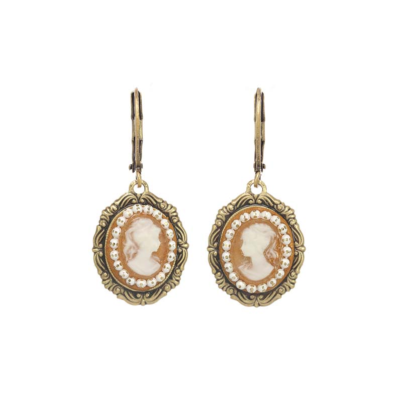 Oval German Cameo Earrings