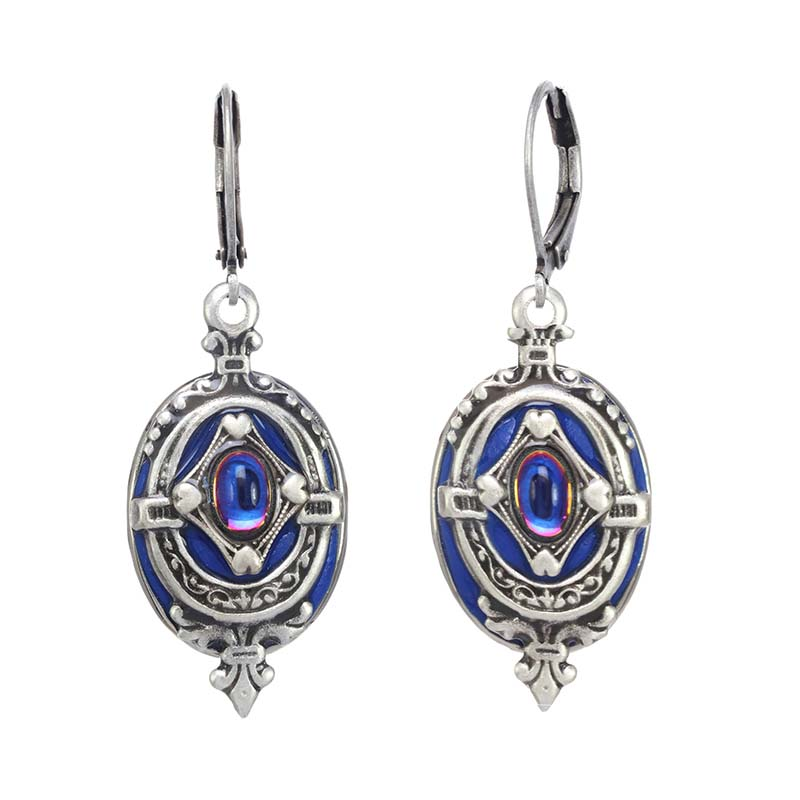 Deep Blue and Silver Oval Earrings