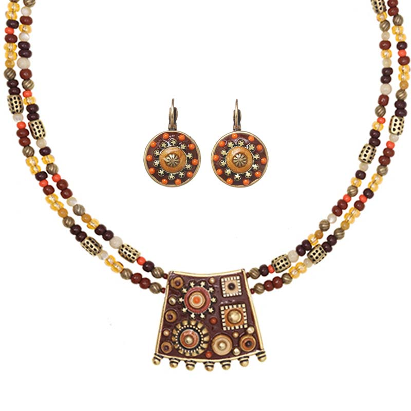 Rustic Orange and Gold Necklace and Earrings Set