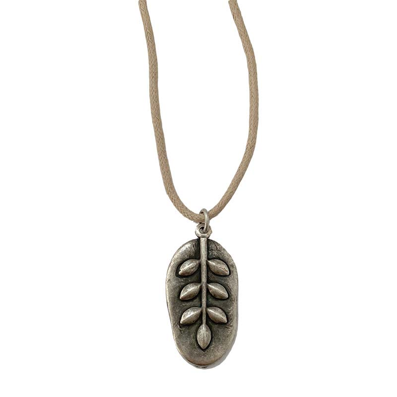 Silver Leaf on Cotton Cord Necklace