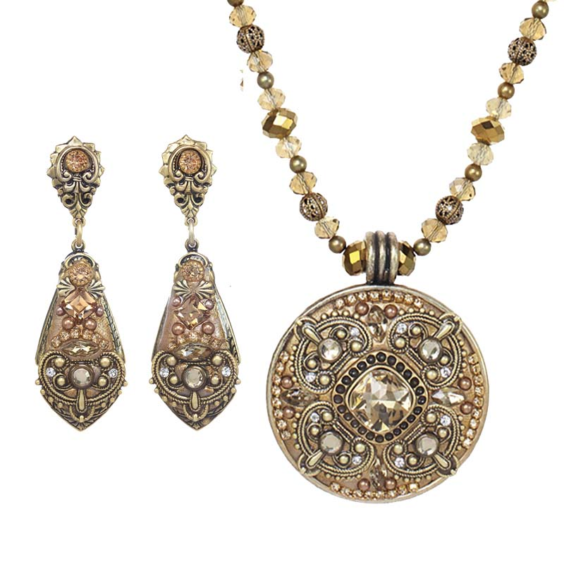Desert Crystal Necklace and Earrings Set