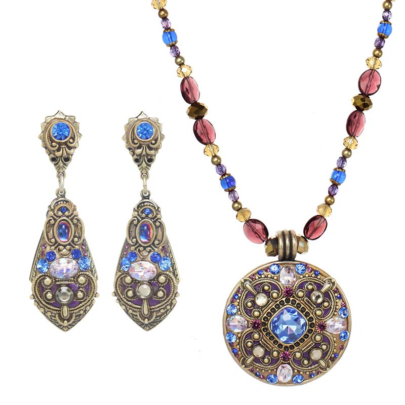 Regal Crystal Necklace and Earrings Set
