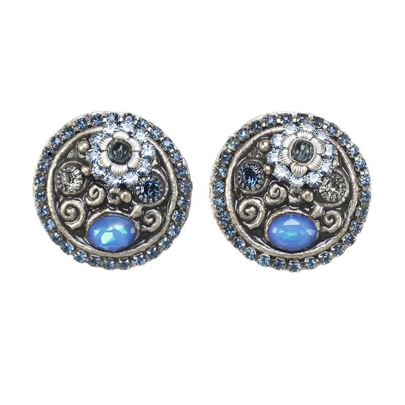 Blue Frost Large Circle Earrings
