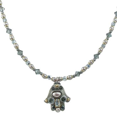 Silver and Pearl Cabochon Hamsa Necklace