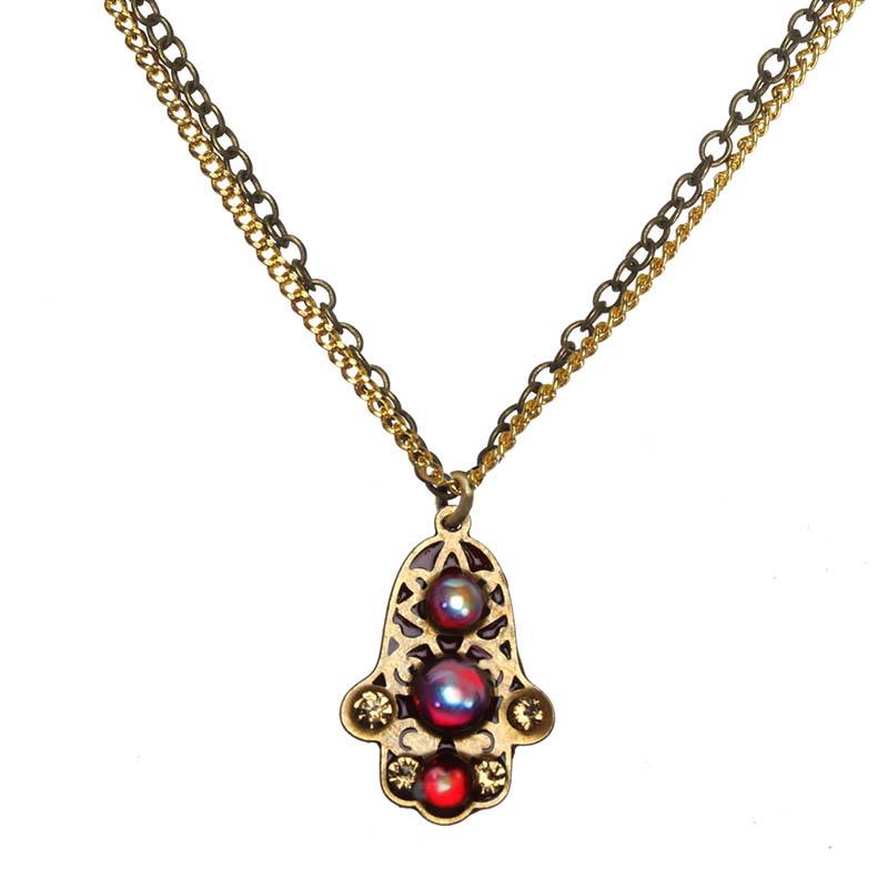 Tiny Garnet and Gold Hamsa Necklace