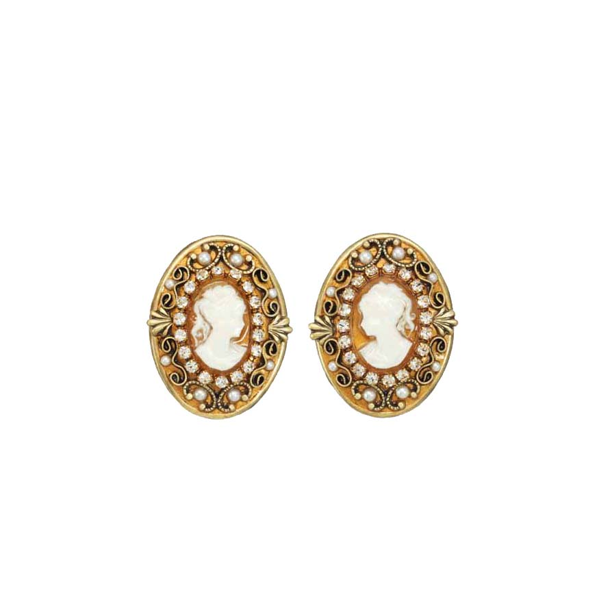 Cameo Oval Earrings