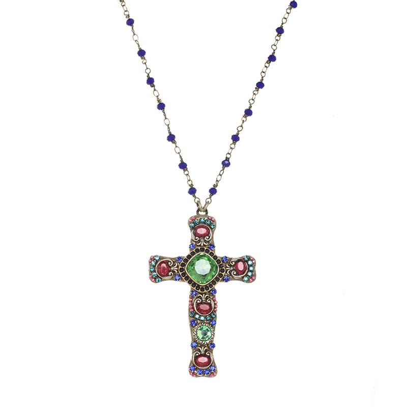 Green and Magenta Crystal Cross Necklace