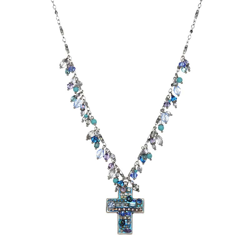 Aqua Crystal Cross Necklace