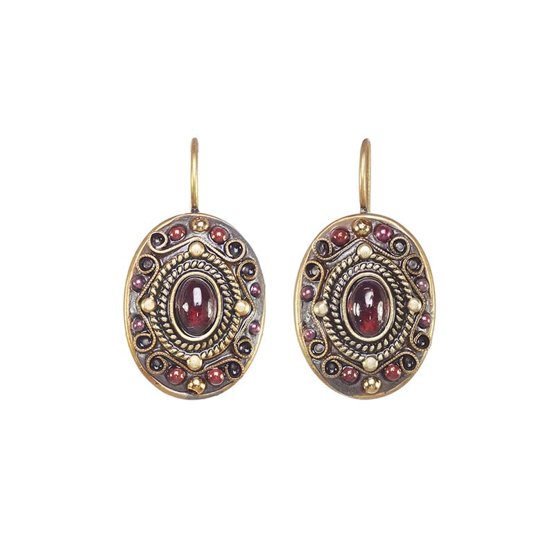 Garnet Oval Earrings
