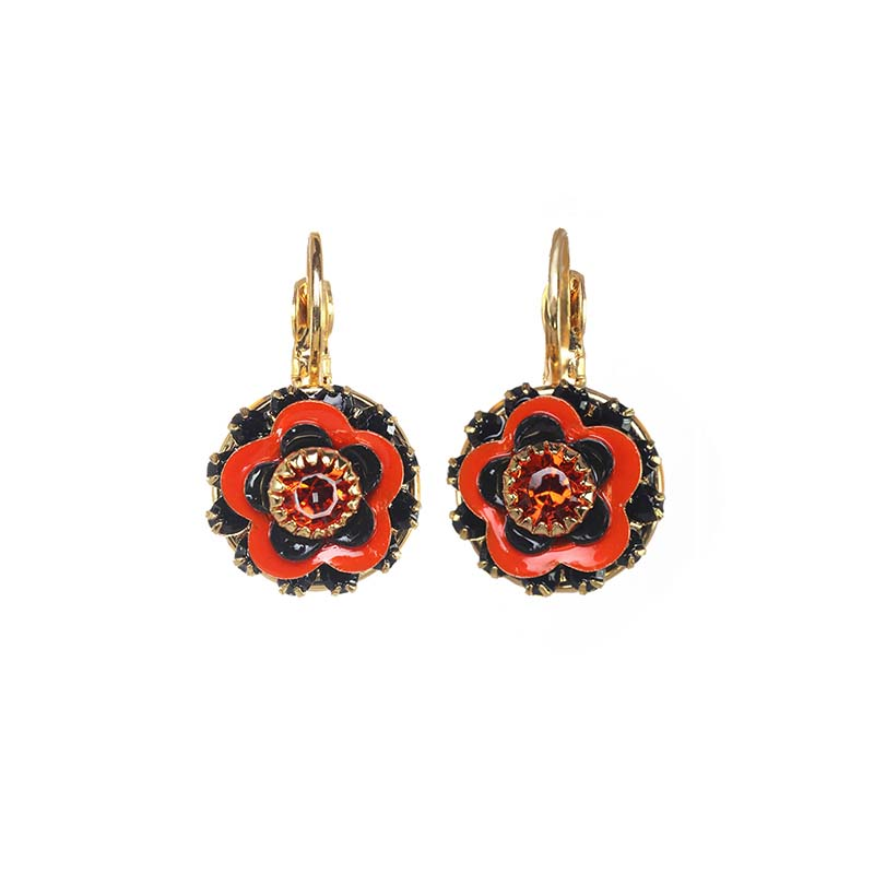Bright Red Poppy Earrings