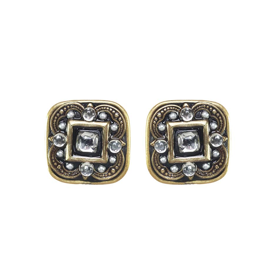 Iridescent Crystal Square Clip Earrings