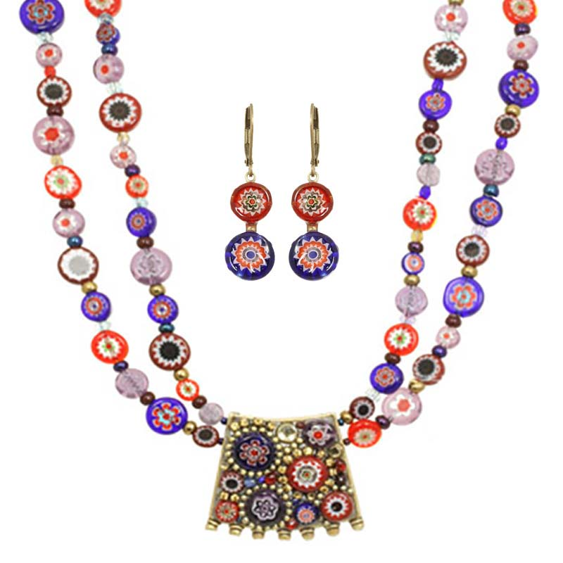 Millefiori Statement Necklace and Earrings Set
