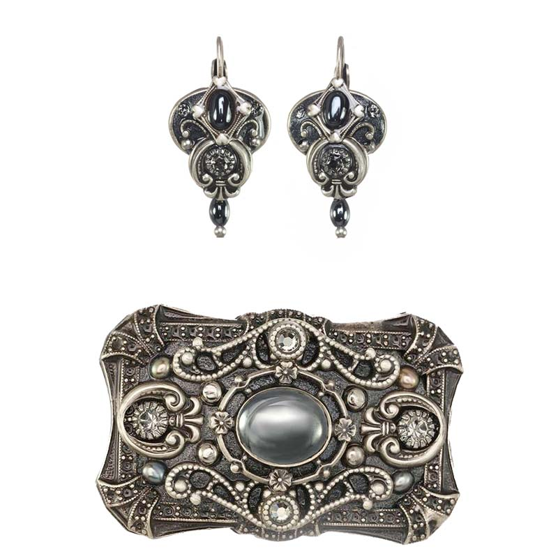 Hematite Earrings and Brooch Set