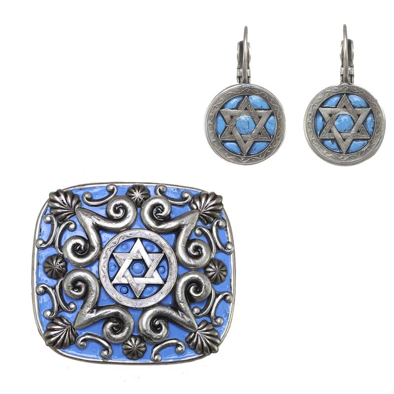 Light Blue Star of David Brooch and Earrings Set