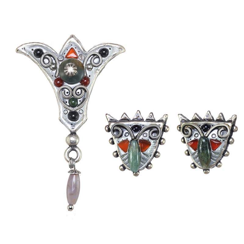 Gemstone Fleur de Lis Brooch and Earrings Set