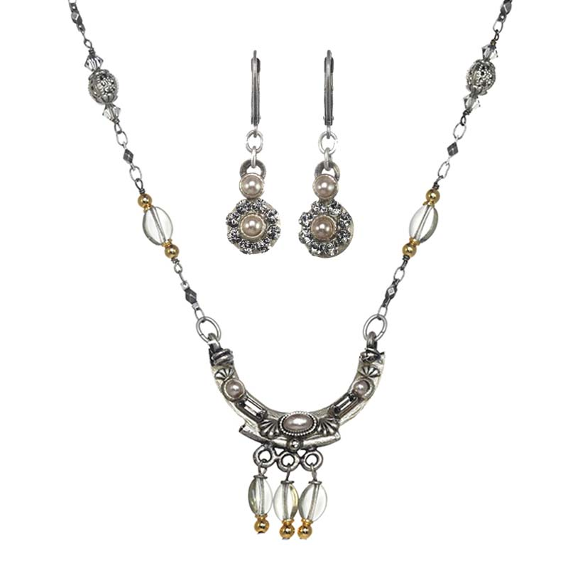 Pearl Cabochon and Crystal Necklace and Earrings Set